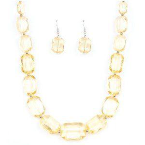 ICE Versa Yellow Acrylic Necklace Earrings Jewelry